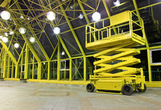 Scissor Platform. Hydraulic / Electric Scissor Platform at Indoor Place. Perspective angle shooting Stock Image