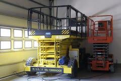 Scissor platform lift vehicles Stock Photo