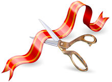 Scissor and ribbon vector illustration