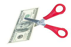 Scissor Schnittdollarbanknote Stockfoto