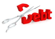Scissor y deuda Imágenes de archivo libres de regalías