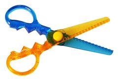 Scissors. Colourful scissors isolated on white stock images