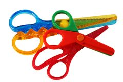 Scissors. Colourful scissors isolated on white stock photos