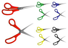 Scissors. Vector image of scissors with handles of different colours Vector Illustration