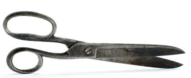 Scissors. Old rust scissors for cutting a fabric Royalty Free Stock Photos