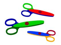 Scissors. Three scissors in different colors on white background stock illustration