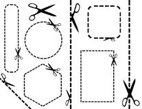 Scissors. Black scissors on the white background and place for your text Stock Photos
