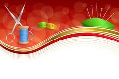 Scissors abstrakte Nähgarnausrüstung des Hintergrundes Bandrahmenillustration des Knopfnadelstiftblauen Grüns rote gelbes Gold Stockbilder