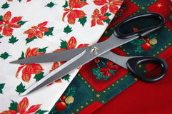 Free Scissors And Christmas Fabrics Stock Images - 7387304