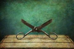 Scissors. Antique scissors on green background royalty free stock image