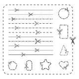 Scissors Ausschnittlinie Ikonen Vector gestricheltes und punktiert, Papierlinien für Design schneiden lizenzfreie abbildung