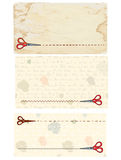 Scissors banners and coupons with old paper Royalty Free Stock Photos