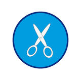 Scissors on a blue circle. Vector illustration Stock Image