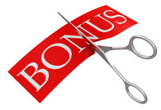 Scissors and Bonus (clipping path included) Stock Image