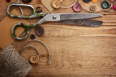 Scissors and buttons Royalty Free Stock Images