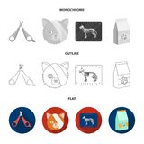 Scissors, cat, bandage, wounded .Vet Clinic set collection icons in flat,outline,monochrome style vector symbol stock. Illustration Royalty Free Stock Photography