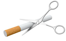 Scissors and Cigarette (clipping path included) Stock Photography