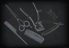 Scissors, clippers shears brush, swab, razor hairclipper blade s Royalty Free Stock Photo