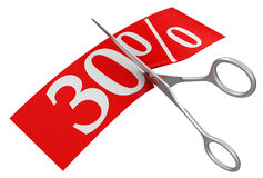 Scissors and 30% (clipping path included) Stock Photography