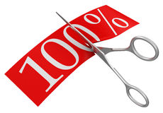 Scissors and 100% (clipping path included) Royalty Free Stock Image