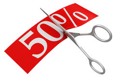 Scissors and 50% (clipping path included) Royalty Free Stock Photos