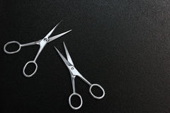 Scissors clipping paths. Scissors put on the leather Stock Photo
