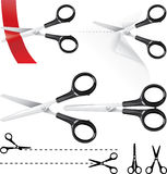 Scissors. A collection of scissors in color and silhouette version Vector Illustration