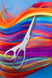 Scissors with color wig Stock Photography