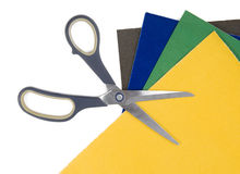 Scissors on colored paper Royalty Free Stock Photo