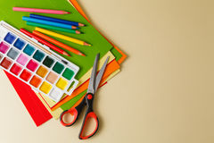 Scissors on colored paper colorful Stock Image