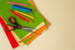 Scissors on colored paper colorful Royalty Free Stock Photo
