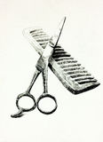 Scissors and comb Stock Photos