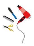 Scissors and comb brush Stock Photo