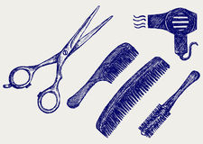 Scissors and Comb for hair Stock Photography