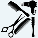 Scissors, comb for hair and dryer Stock Images