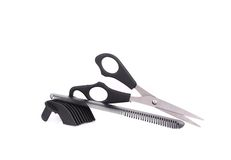 Scissors and Comb for hair. Stock Photo