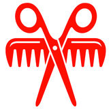 Scissors with comb red icon Stock Image