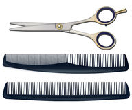 scissors and combs for cutting hair on a white backgrou stock illustration