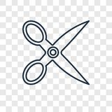 Scissors concept vector linear icon isolated on transparent back royalty free illustration