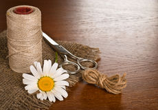 Scissors, cord and daisy flower Royalty Free Stock Photography