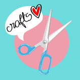 Scissors with with crafts love message flat design Royalty Free Stock Photos
