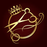 Scissors and a crown of gold color symbol. For beauty salon Stock Image