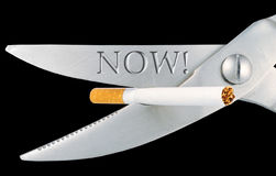 Scissors cut a cigarette. Isolated on a black background Royalty Free Stock Photos