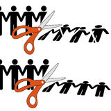Scissors cut divided group of people into pieces. Symbol of firing workers or disuniting people by cutting off a row of people into pieces Stock Images