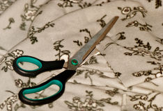 Scissors cut fabric Stock Photo