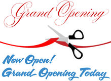 Scissors cut grand opening today ribbon Stock Photography
