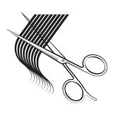 Scissors cut hair curl. Silhouette for beauty salon royalty free illustration