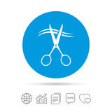 Scissors cut hair sign icon. Hairdresser symbol. Scissors cut hair sign icon. Hairdresser or barbershop symbol. Copy files, chat speech bubble and chart web vector illustration