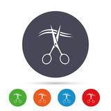 Scissors cut hair sign icon. Hairdresser symbol. Scissors cut hair sign icon. Hairdresser or barbershop symbol. Round colourful buttons with flat icons. Vector vector illustration