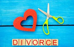 scissors cut heart. the inscription `divorce`. the concept of breaking relations, quarrels. treachery, betrayal. cancellation of m Royalty Free Stock Photo